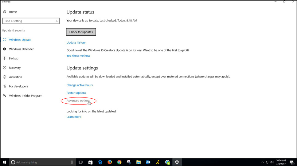 "Under ""Windows Update"" choose ""Advanced options."""